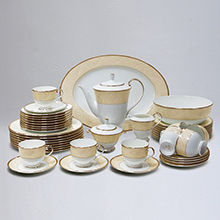 NOCTURNE GOLD - 47PC BONE CHINA DINNER SET